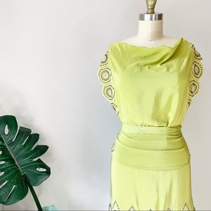 BCBGMaxAzria Runway • Silk Eyelet Apron Dress